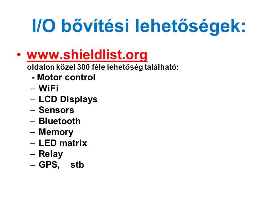 I/O bővítési lehetőségek: