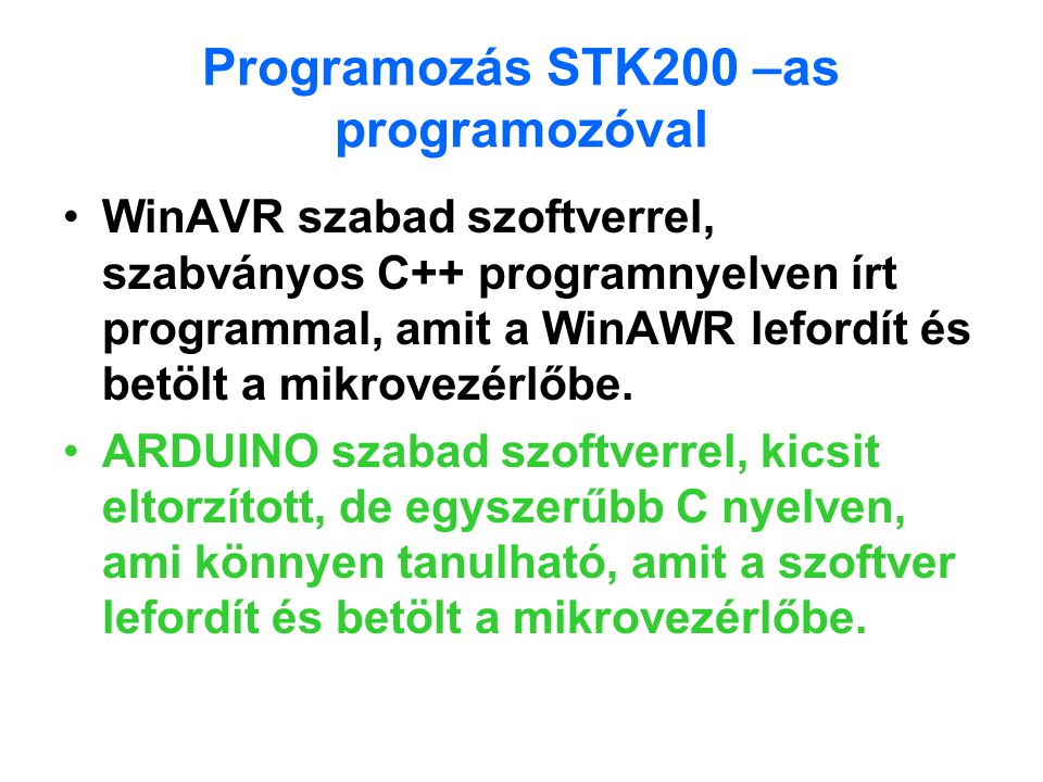 Programozás STK200 –as programozóval