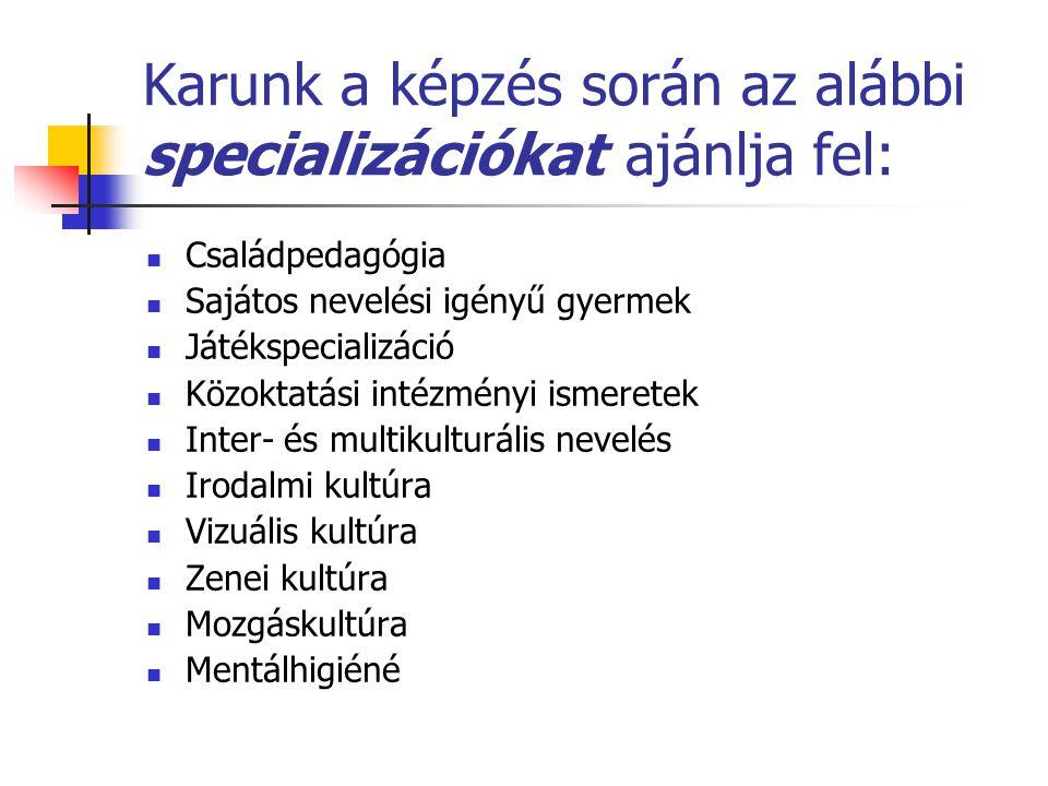 Karunk a képzés során az alábbi specializációkat ajánlja fel: