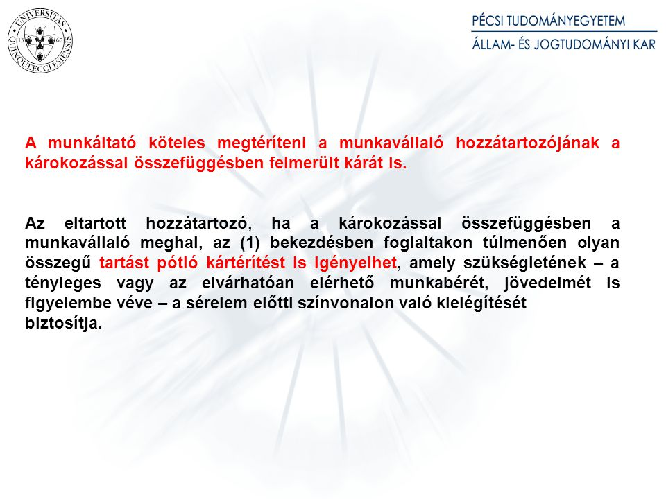 A munkáltatót a 166–167. §-ban foglaltak szerint terheli a felelősség a munkavállaló munkahelyre bevitt tárgyaiban,