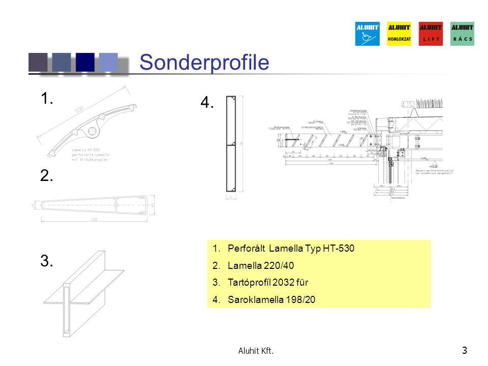 Sonderprofile 1. 4. 2. 3. Perforált Lamella Typ HT-530 Lamella 220/40