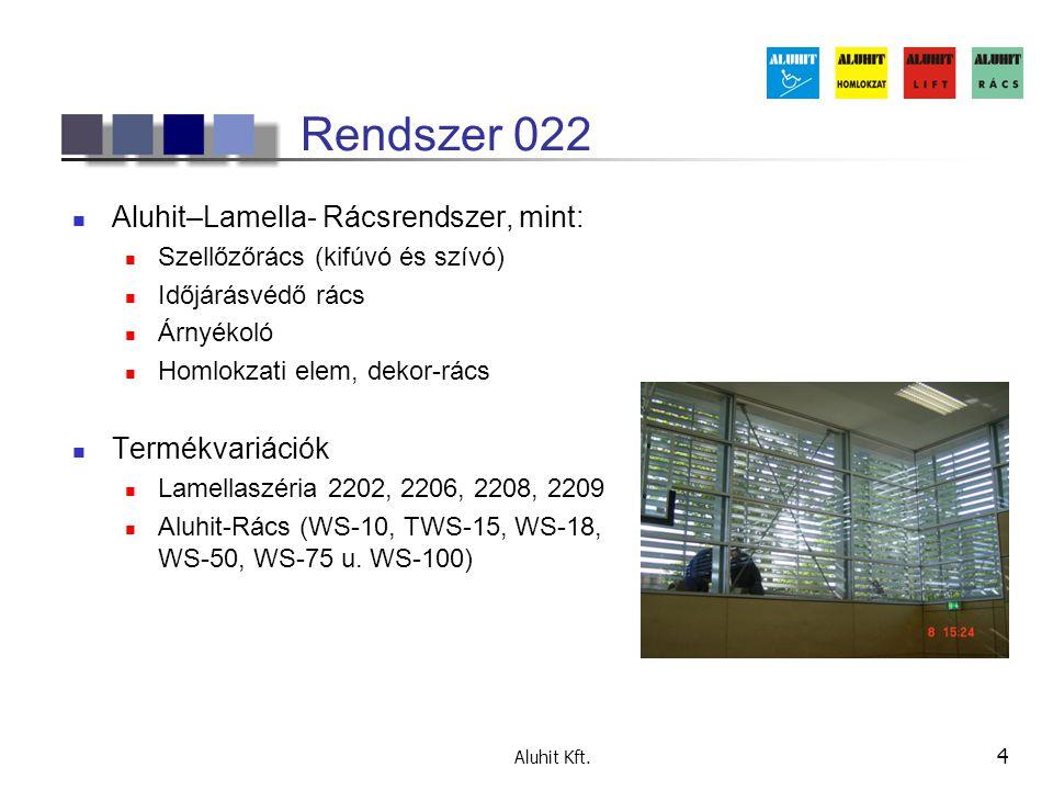 Rendszer 022 Aluhit–Lamella- Rácsrendszer, mint: Termékvariációk