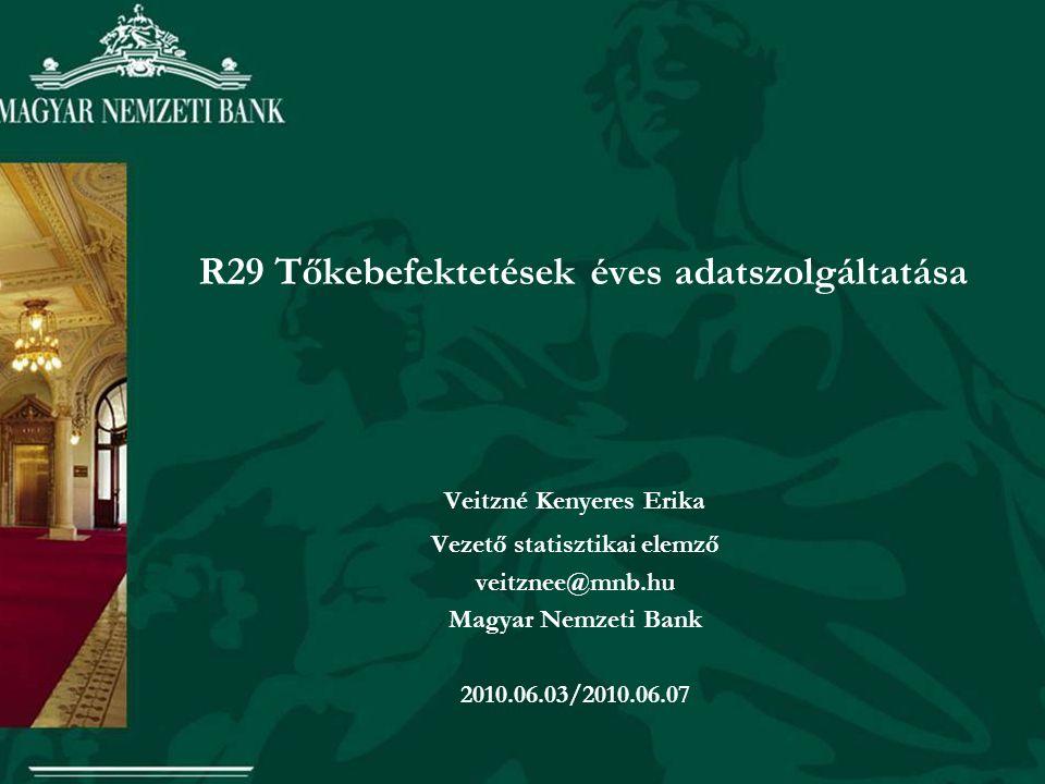 R29 Tőkebefektetések éves adatszolgáltatása