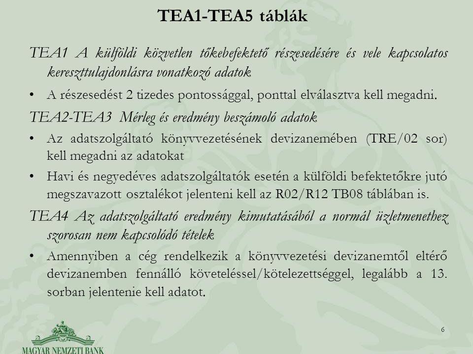 TEA1-TEA5 táblák TEA1 A külföldi közvetlen tőkebefektető részesedésére és vele kapcsolatos kereszttulajdonlásra vonatkozó adatok.