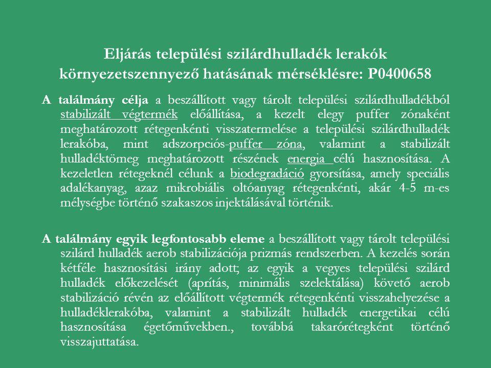 Eljárás települési szilárdhulladék lerakók környezetszennyező hatásának mérséklésre: P0400658