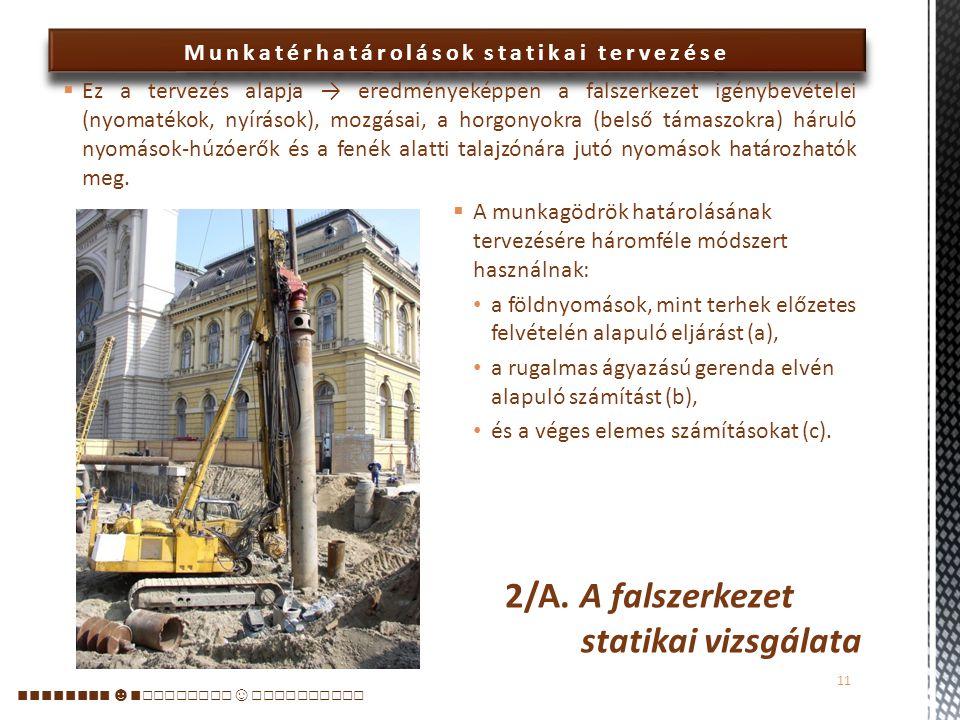 2/A. A falszerkezet statikai vizsgálata