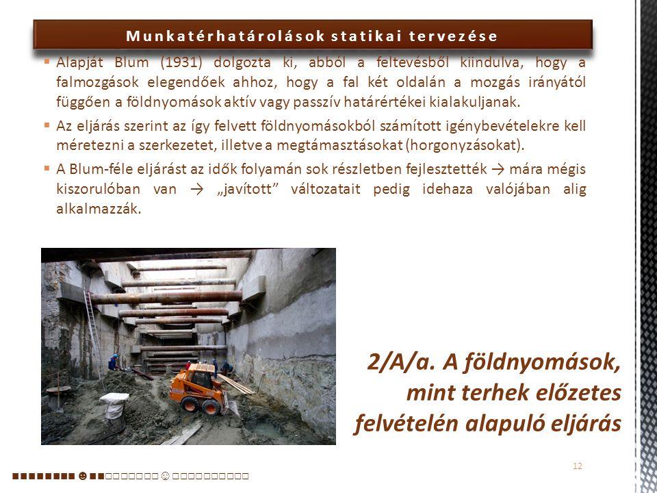 2/A/a. A földnyomások, mint terhek előzetes felvételén alapuló eljárás