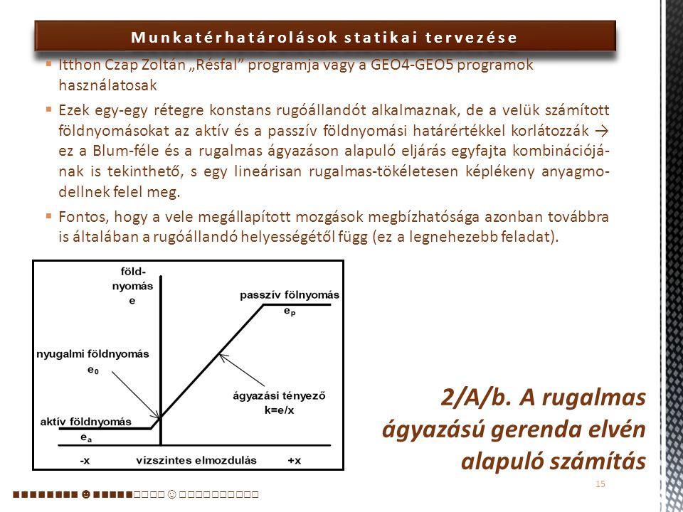 2/A/b. A rugalmas ágyazású gerenda elvén alapuló számítás