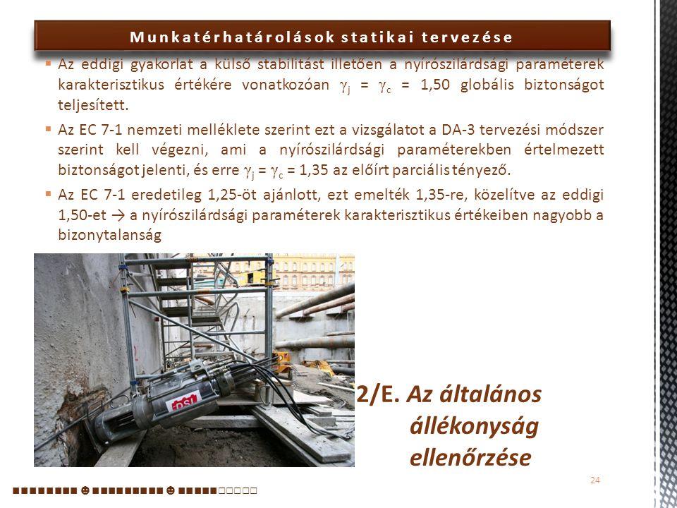 2/E. Az általános állékonyság ellenőrzése