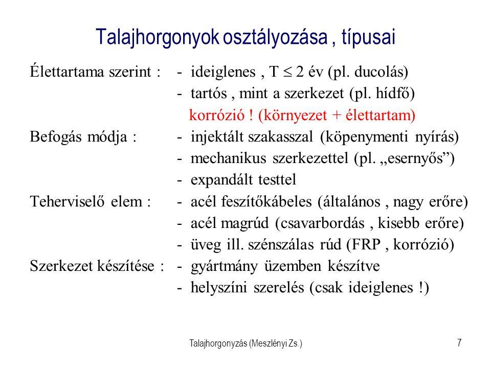 Talajhorgonyok osztályozása , típusai