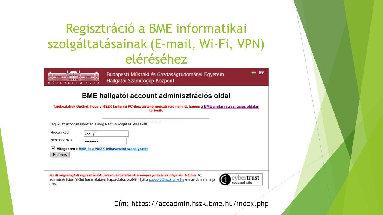 Cím: https://accadmin.hszk.bme.hu/index.php