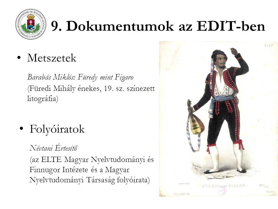9. Dokumentumok az EDIT-ben