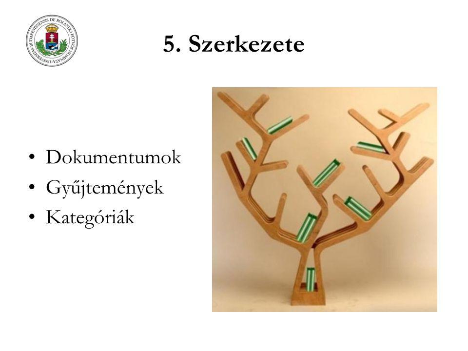 5. Szerkezete Dokumentumok Gyűjtemények Kategóriák