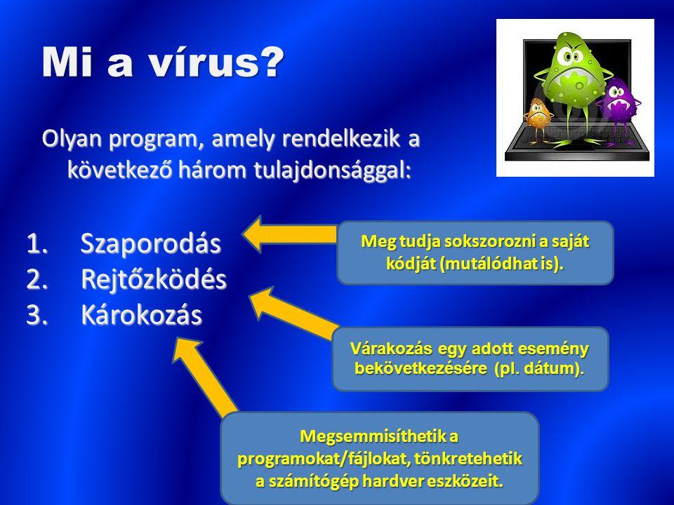Mi a vírus Szaporodás Rejtőzködés Károkozás