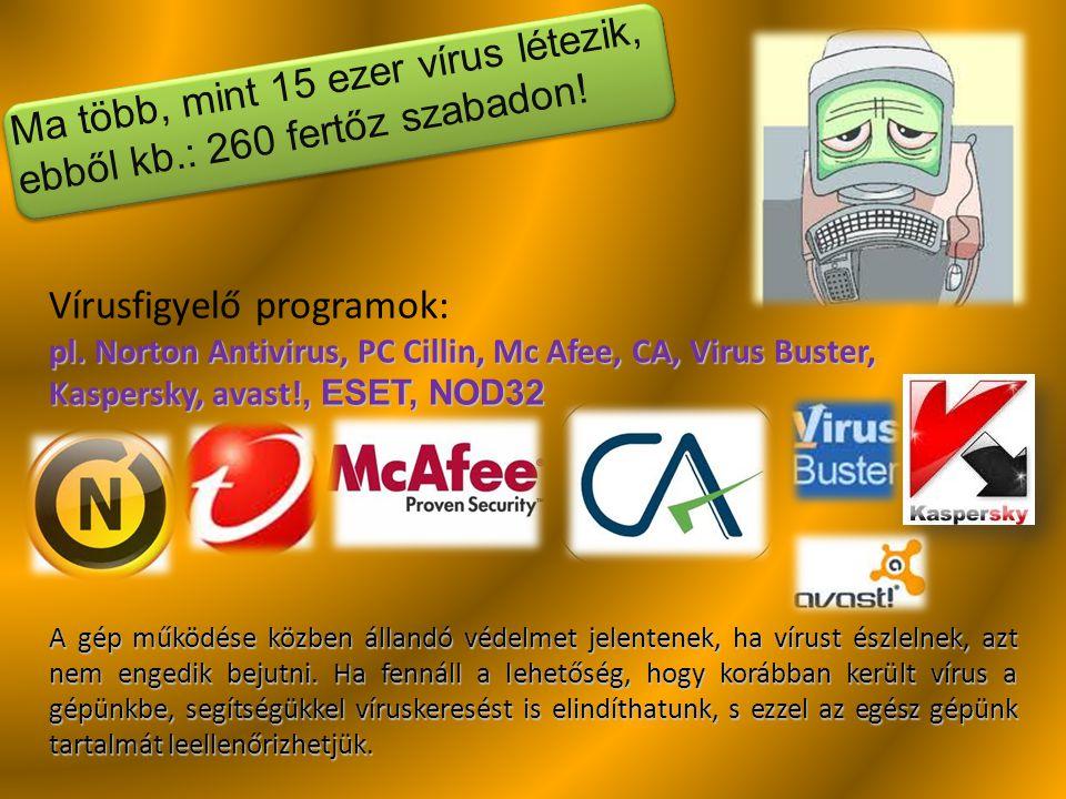 Ma több, mint 15 ezer vírus létezik, ebből kb.: 260 fertőz szabadon!