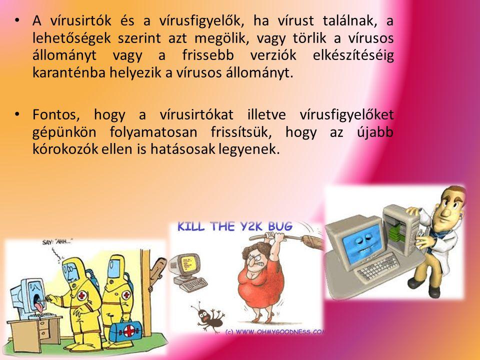 A vírusirtók és a vírusfigyelők, ha vírust találnak, a lehetőségek szerint azt megölik, vagy törlik a vírusos állományt vagy a frissebb verziók elkészítéséig karanténba helyezik a vírusos állományt.