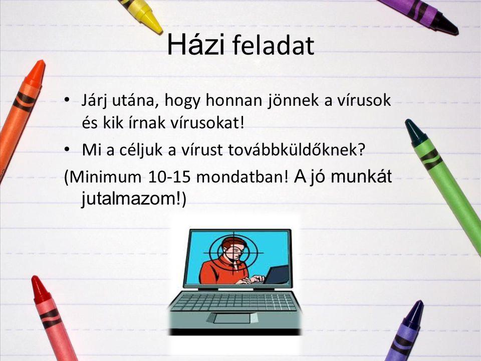 Házi feladat Járj utána, hogy honnan jönnek a vírusok és kik írnak vírusokat! Mi a céljuk a vírust továbbküldőknek