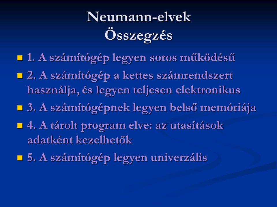 Neumann-elvek Összegzés