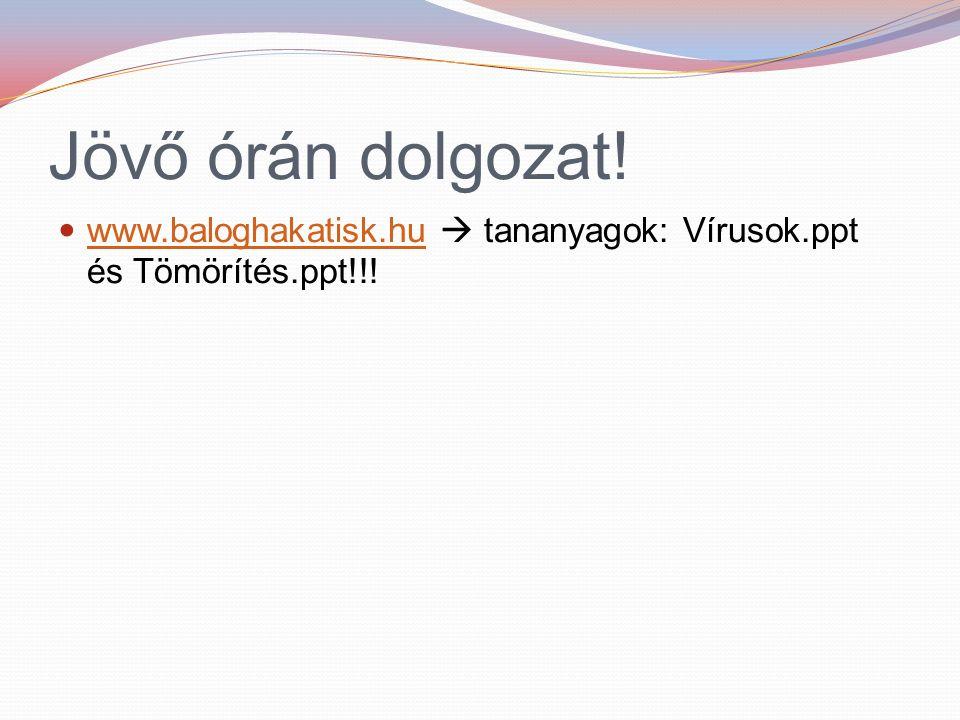 Jövő órán dolgozat! www.baloghakatisk.hu  tananyagok: Vírusok.ppt és Tömörítés.ppt!!!
