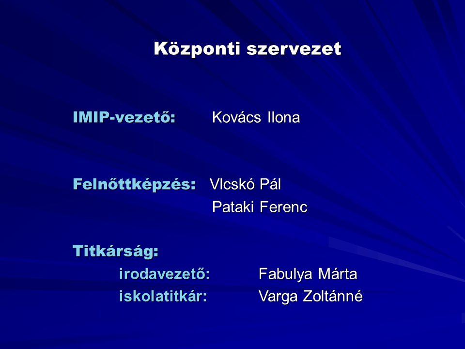 Központi szervezet IMIP-vezető: Kovács Ilona Felnőttképzés: Vlcskó Pál