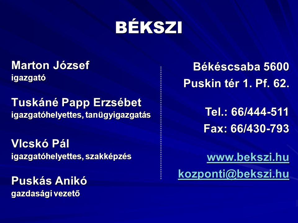BÉKSZI Marton József Békéscsaba 5600 Puskin tér 1. Pf. 62.