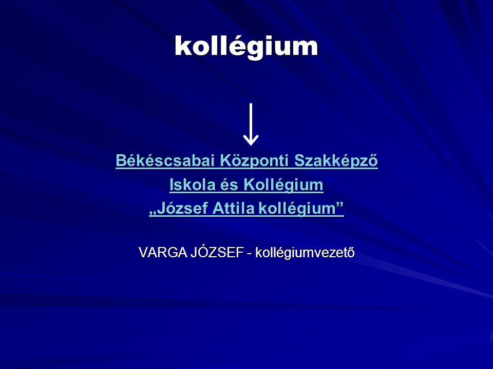 """Békéscsabai Központi Szakképző """"József Attila kollégium"""