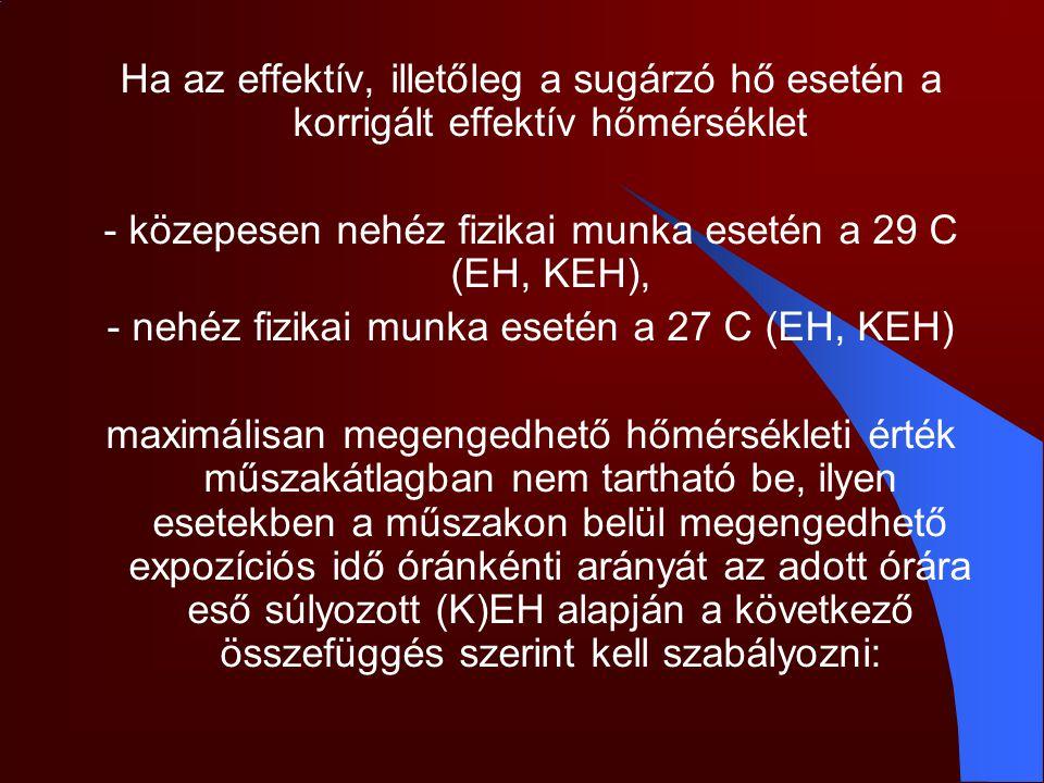 - közepesen nehéz fizikai munka esetén a 29 C (EH, KEH),