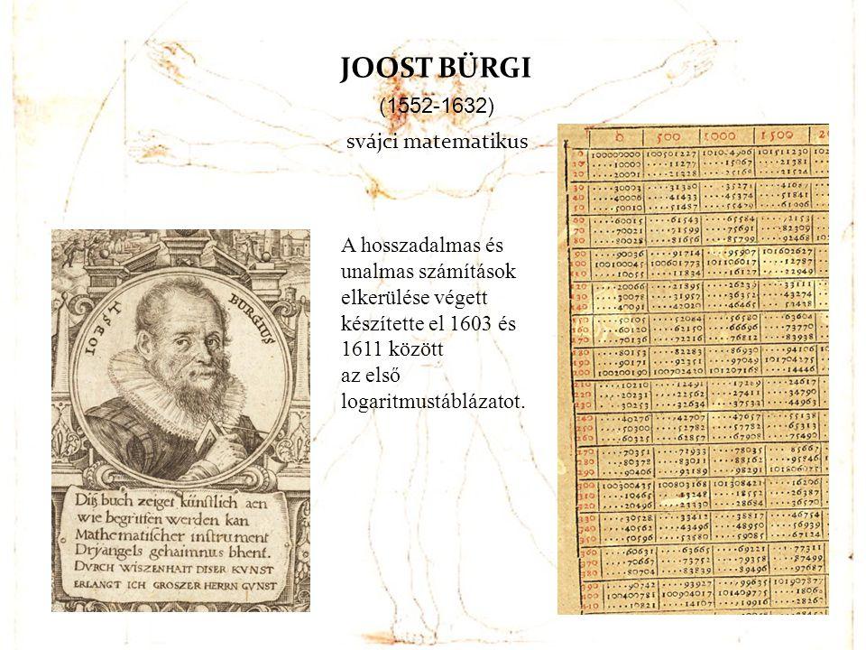 JOOST BÜRGI (1552-1632) svájci matematikus A hosszadalmas és