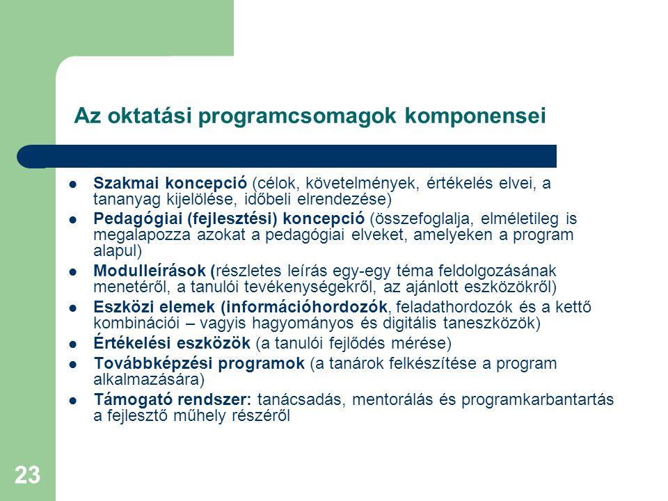 Az oktatási programcsomagok komponensei
