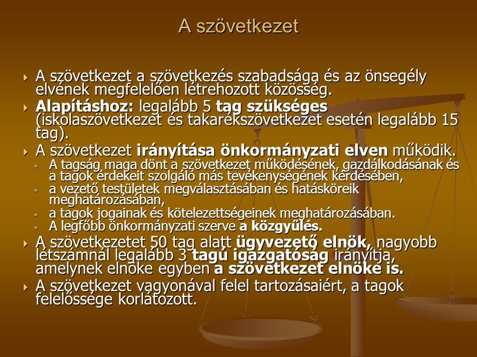 A szövetkezet A szövetkezet a szövetkezés szabadsága és az önsegély elvének megfelelően létrehozott közösség.