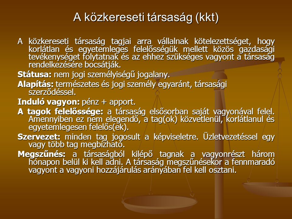 A közkereseti társaság (kkt)