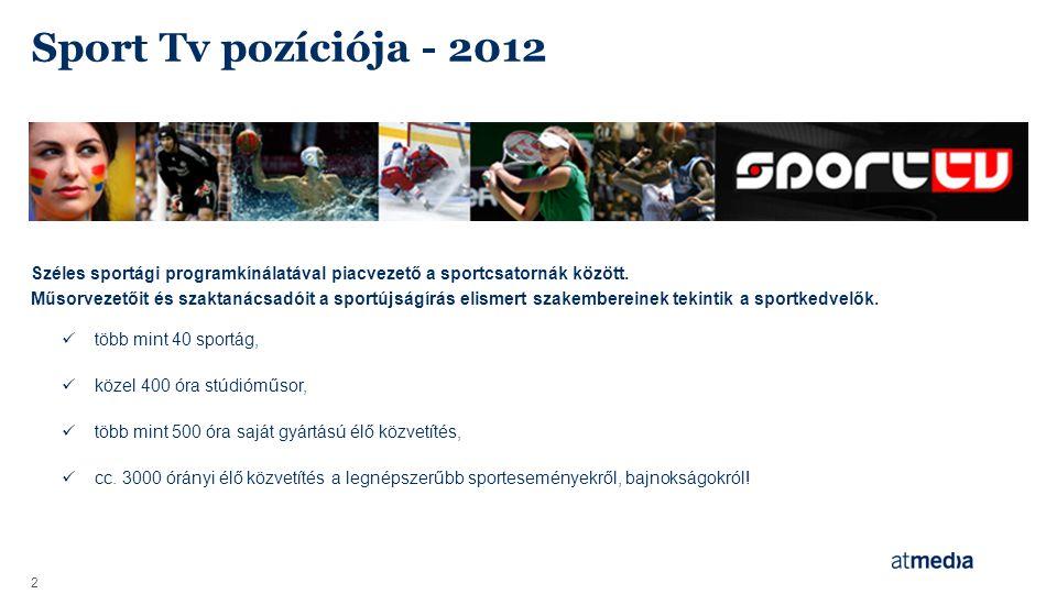 Sport Tv pozíciója - 2012 Széles sportági programkínálatával piacvezető a sportcsatornák között.