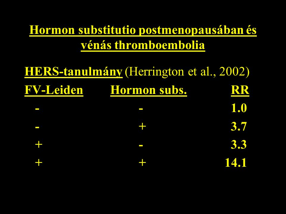Hormon substitutio postmenopausában és vénás thromboembolia