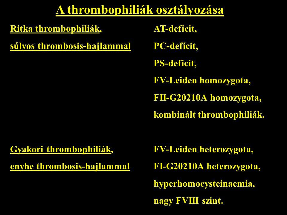 A thrombophiliák osztályozása
