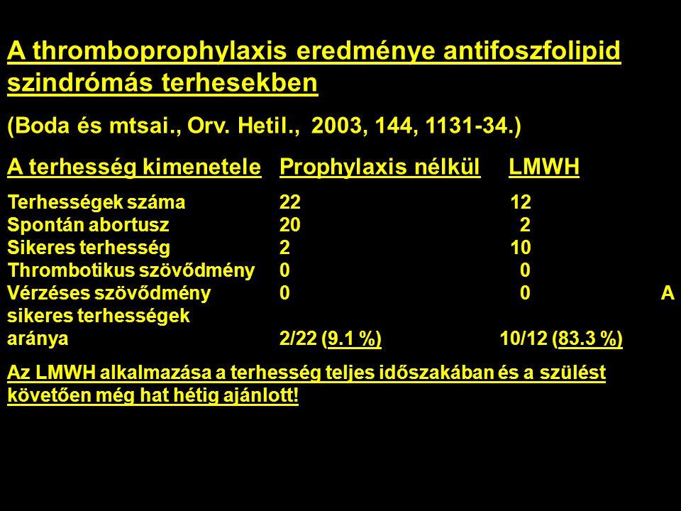 A thromboprophylaxis eredménye antifoszfolipid szindrómás terhesekben