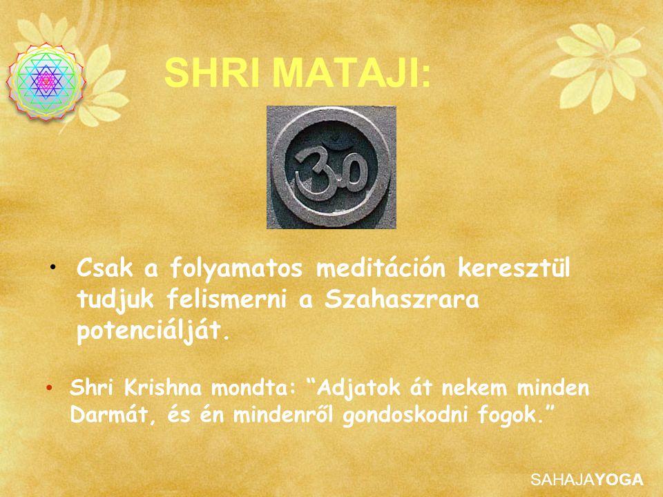 SHRI MATAJI: Csak a folyamatos meditáción keresztül tudjuk felismerni a Szahaszrara potenciálját.