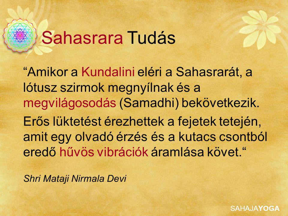 Sahasrara Tudás Amikor a Kundalini eléri a Sahasrarát, a lótusz szirmok megnyílnak és a megvilágosodás (Samadhi) bekövetkezik.