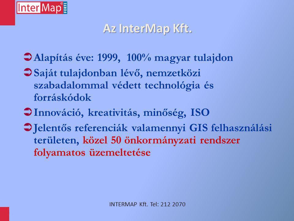 Az InterMap Kft. Alapítás éve: 1999, 100% magyar tulajdon