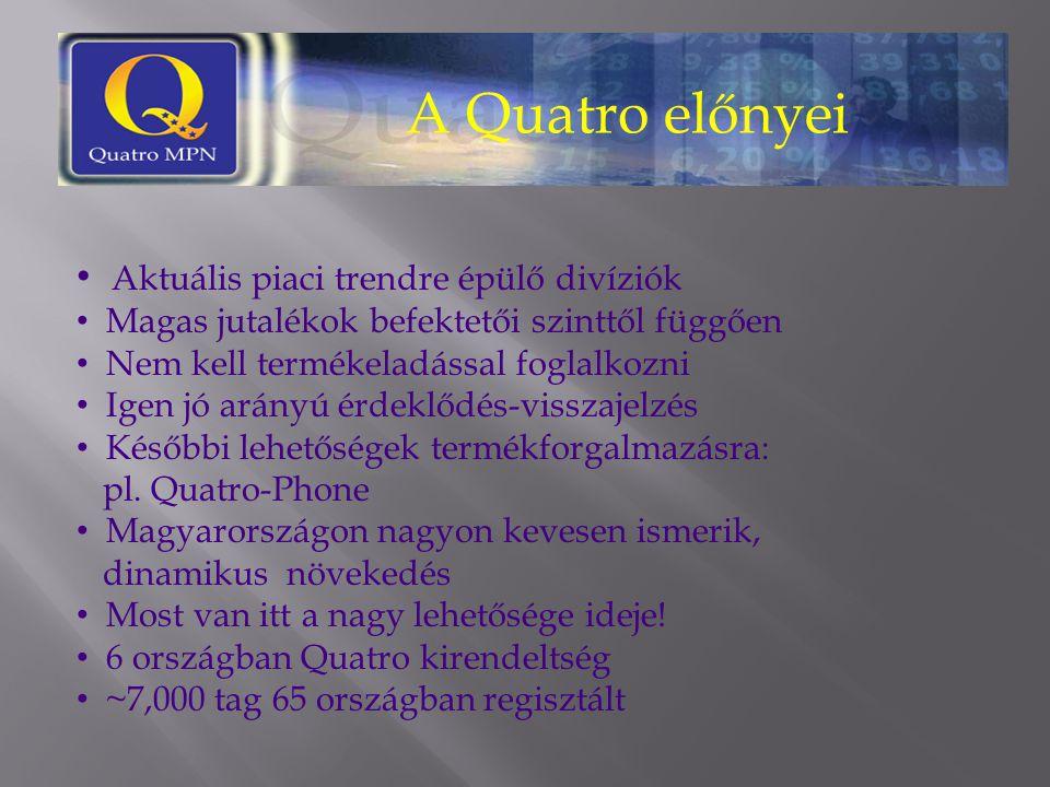 A Quatro előnyei Aktuális piaci trendre épülő divíziók