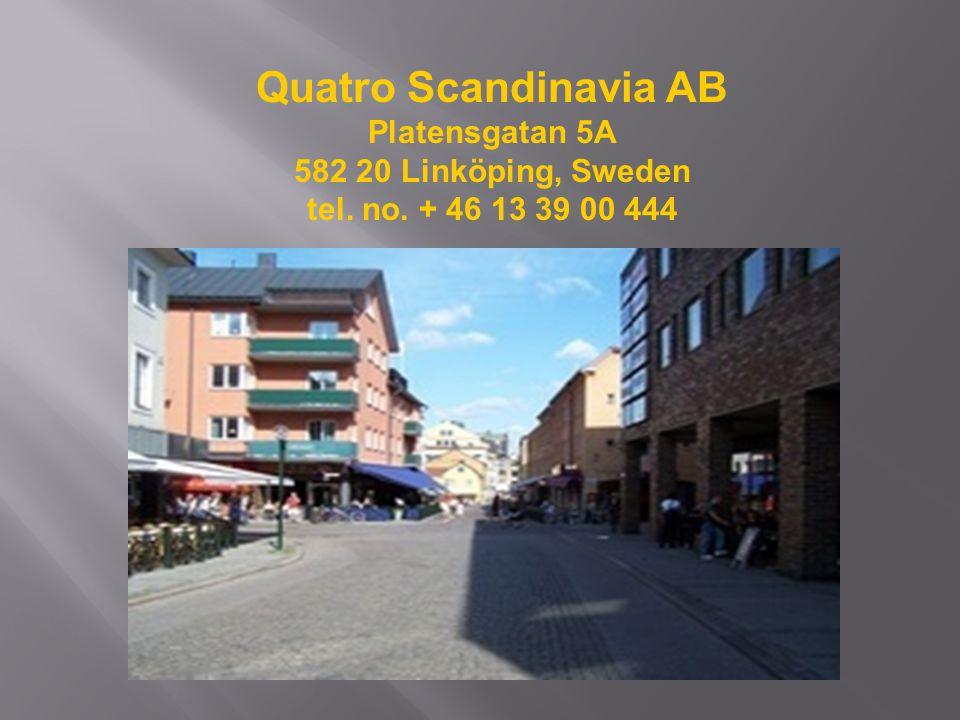 Quatro Scandinavia AB Platensgatan 5A 582 20 Linköping, Sweden tel. no