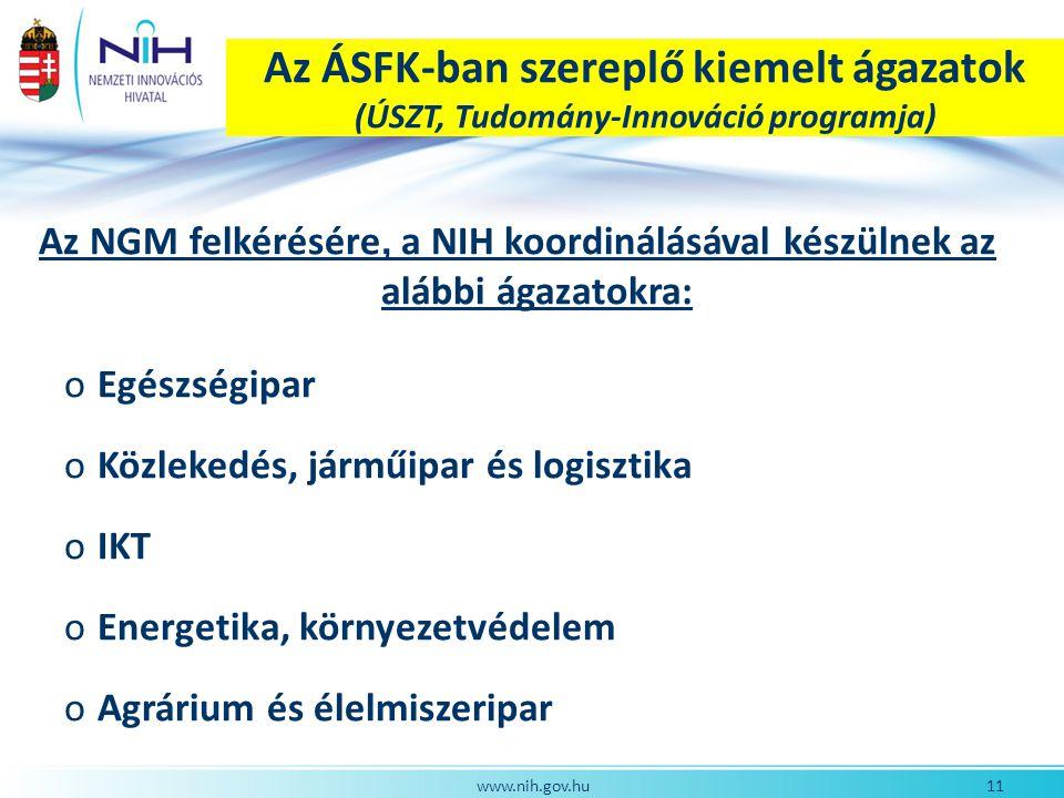 Az ÁSFK-ban szereplő kiemelt ágazatok (ÚSZT, Tudomány-Innováció programja)