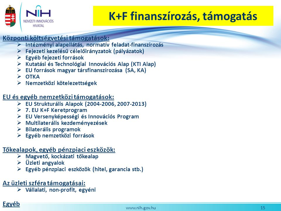 K+F finanszírozás, támogatás