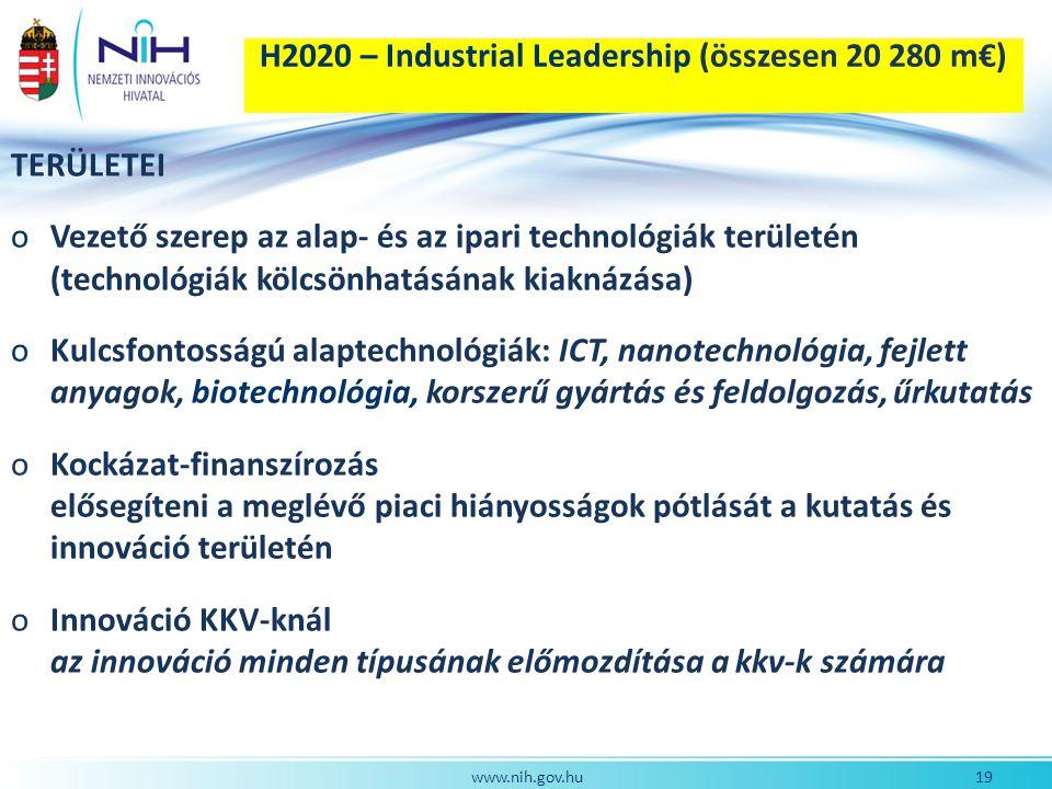 H2020 – Industrial Leadership (összesen 20 280 m€)
