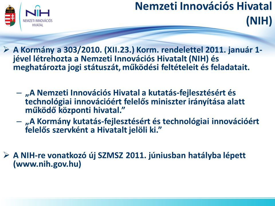 Nemzeti Innovációs Hivatal (NIH)