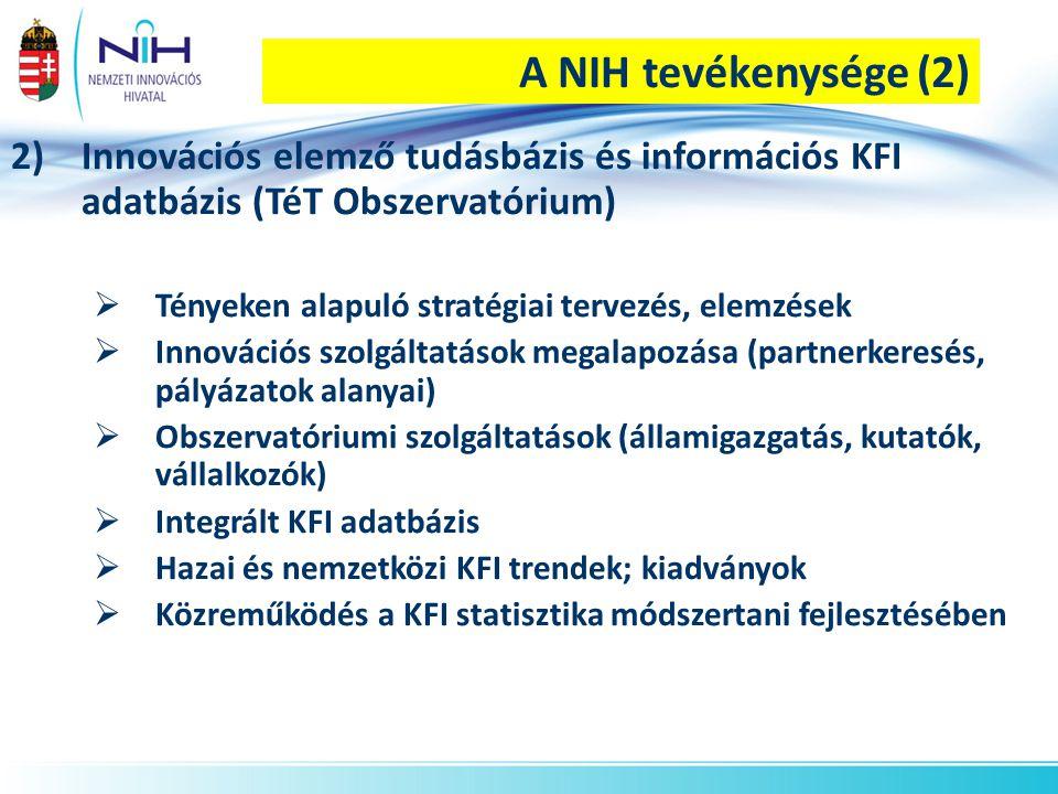A NIH tevékenysége (2) Innovációs elemző tudásbázis és információs KFI adatbázis (TéT Obszervatórium)