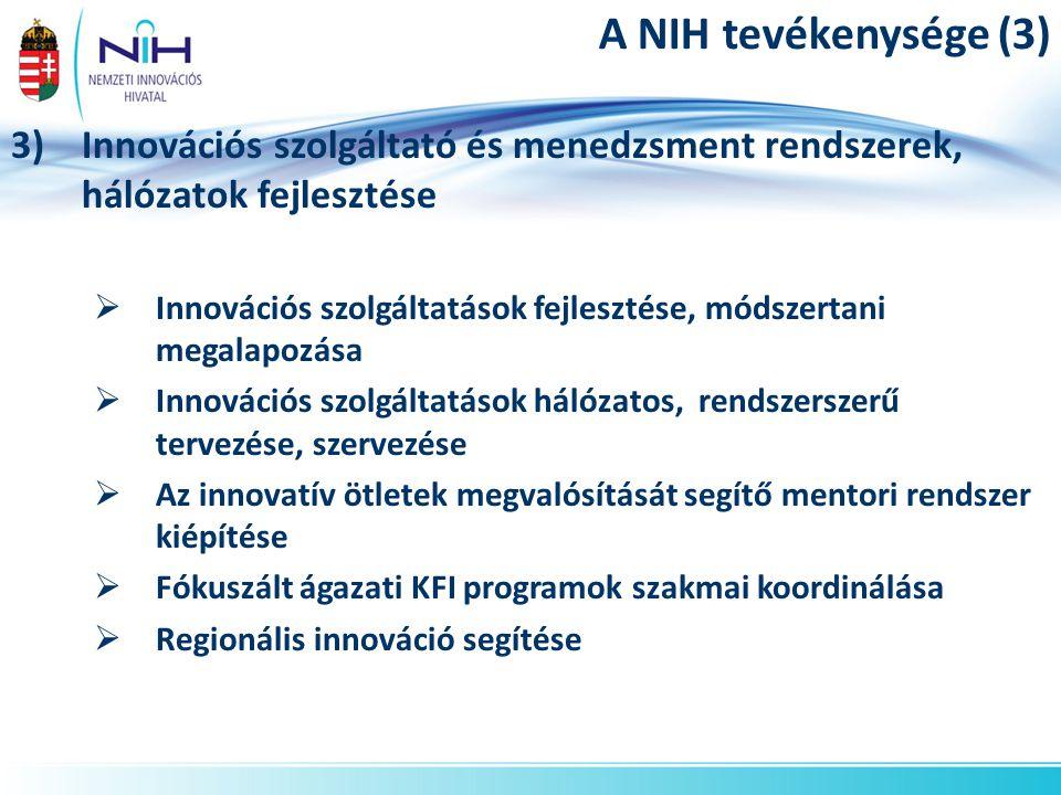 A NIH tevékenysége (3) Innovációs szolgáltató és menedzsment rendszerek, hálózatok fejlesztése.