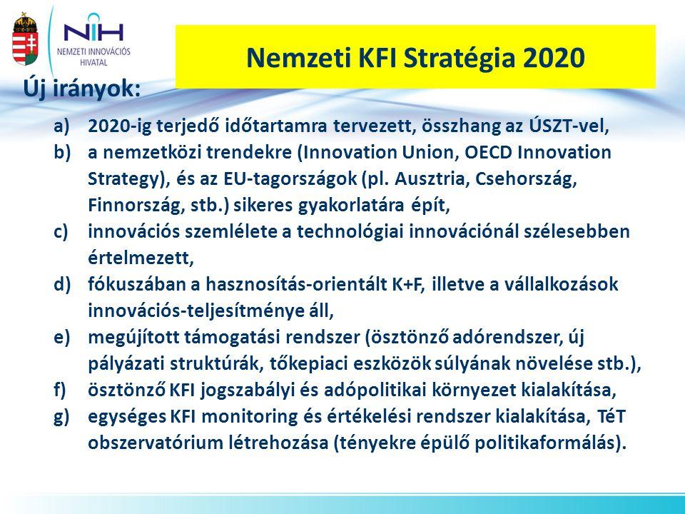 Nemzeti KFI Stratégia 2020 Új irányok: 2020-ig terjedő időtartamra tervezett, összhang az ÚSZT-vel,