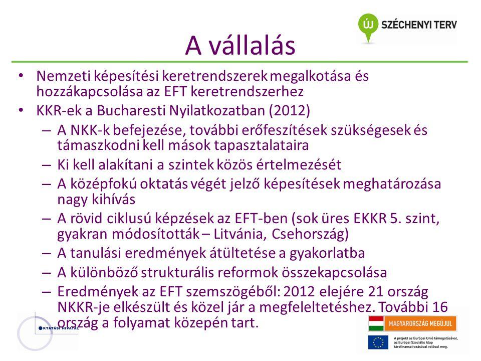 A vállalás Nemzeti képesítési keretrendszerek megalkotása és hozzákapcsolása az EFT keretrendszerhez.