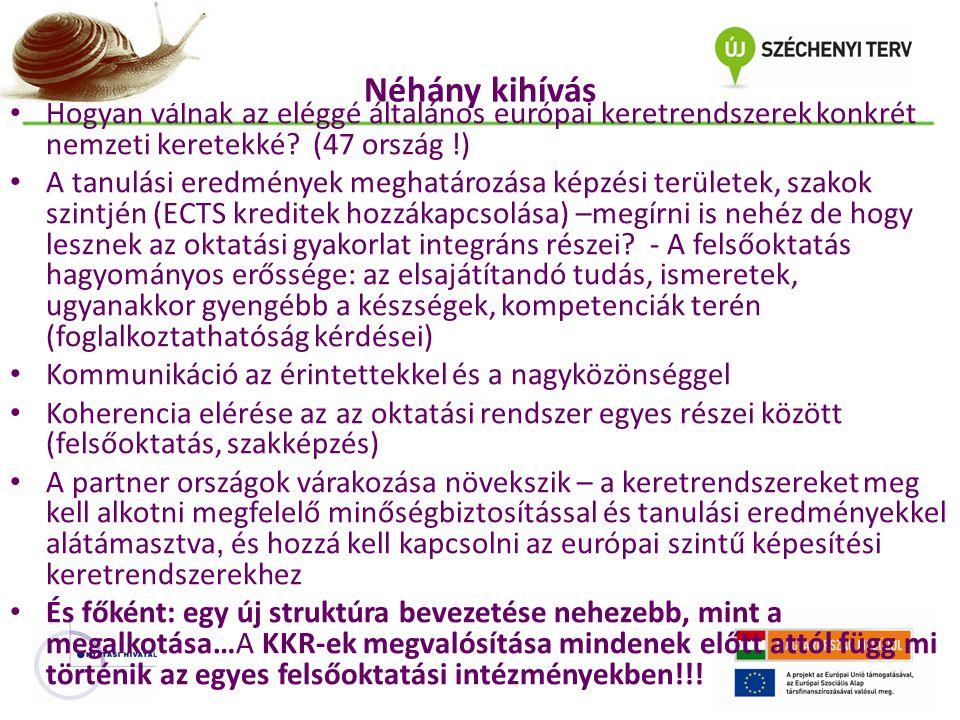 Néhány kihívás Hogyan válnak az eléggé általános európai keretrendszerek konkrét nemzeti keretekké (47 ország !)