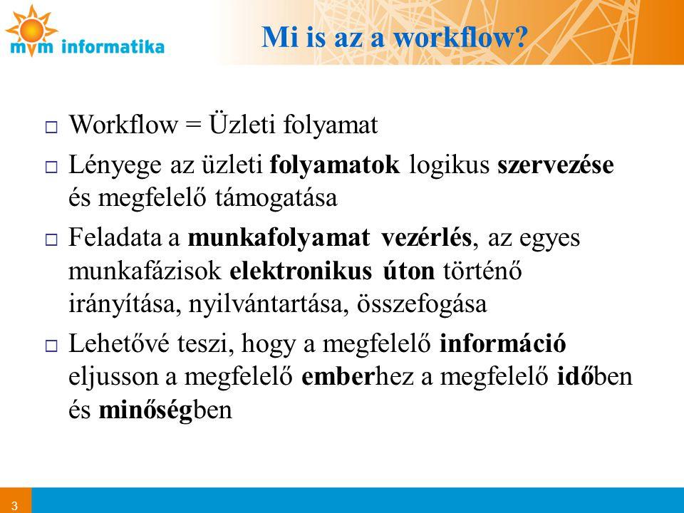Mi is az a workflow Workflow = Üzleti folyamat